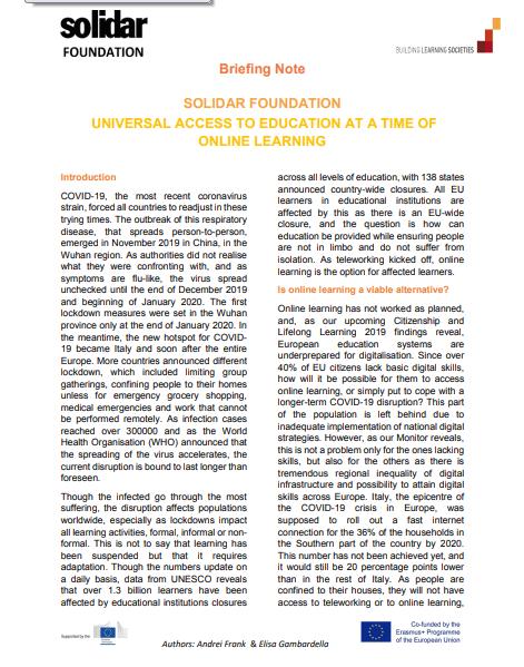 Fundacija SOLIDAR: V času e-učenja moramo zagotoviti univerzalni dostop do izobraževanja