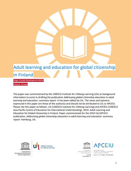 Študija platforme Fingo o izobraževanju odraslih in globalnem učenju na Finskem
